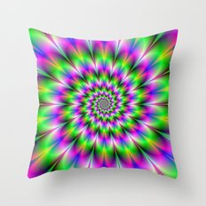 Spiral Rosette in Pink Green and Blue Throw Pillow