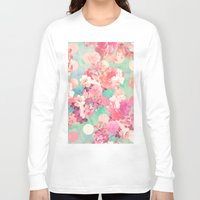preppy Long Sleeve T-shirts featuring Romantic Pink Retro Floral Pattern Teal Polka Dots  by Girly Trend