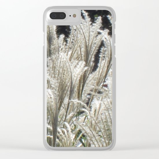 Silver Grass Plumes Clear iPhone Case