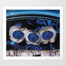 Triplet Third Eye Rising Above, Out of Rich Deep Blues Art Print
