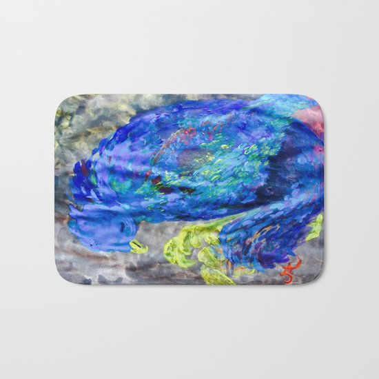 When You Just Need to Sleep Curl Up, Blue Phoenix Bath Mat