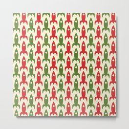 Retro Rockets in Christmas Colors - Midcentury Modern Atomic Era Space Age Pattern in 1950s Green, Xmas Red, and Cream Metal Print