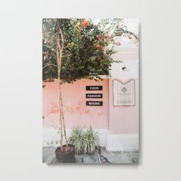 Pink Wall With Tree in Pondicherry, India | Travel Photography | Metal Print