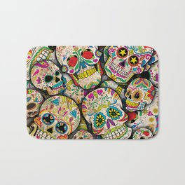 Sugar Skull Collage Bath Mat