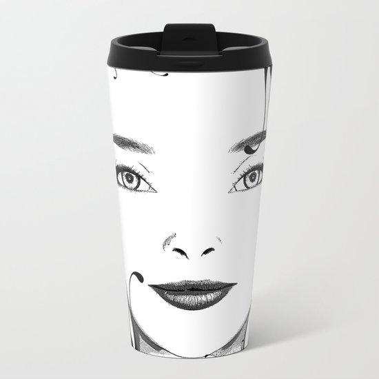 Black and white face ornament Metal Travel Mug