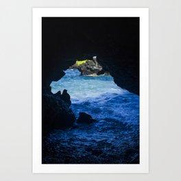 Black Sand Beach Cave Art Print