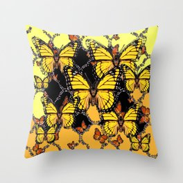 BLACK-GOLDEN YELLOW BUTTERFLIES ART Throw Pillow