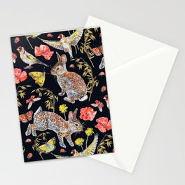 Bunny Meadow Pattern - Dark Stationery Cards