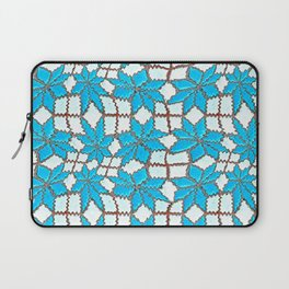 Spanish Tile Design In White And Turquoise Laptop Sleeve