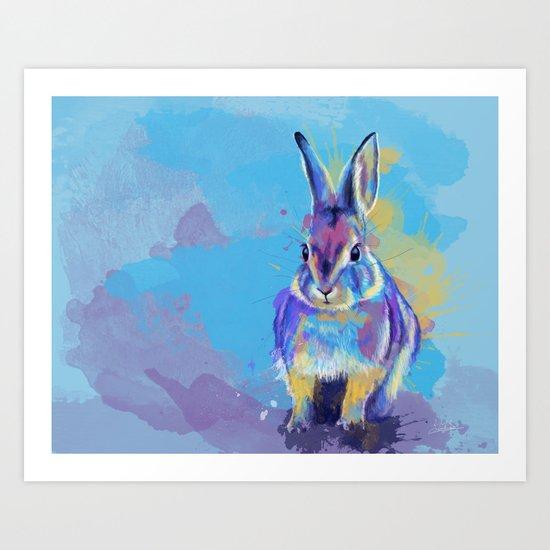 Bunny Dream - Fluffy rabbit illustration, cute animal art by floartstudio