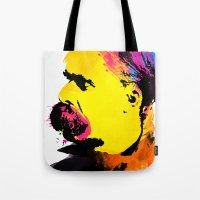 nietzsche Tote Bags featuring Friedrich Wilhelm Nietzsche by DIVIDUS