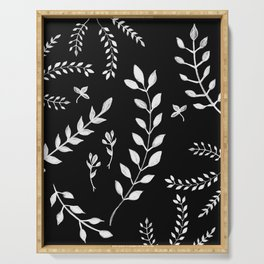 White Leaves Pattern #3 #drawing #decor #art #society6 Serving Tray