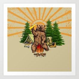 Fun Bear I HATE PEOPLE Camping Art Print