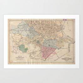 Vintage Map of Cambridge Massachusetts (1891) Art Print
