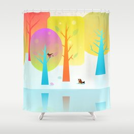 Winter Friends Meet In The Woods Shower Curtain