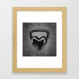 Kettlebell heart / 3D render of heavy heart shaped kettlebell Framed Art Print