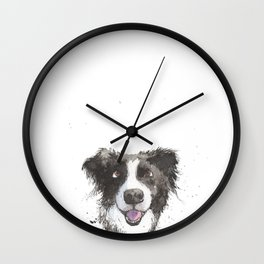 Inky Border Collie Wall Clock