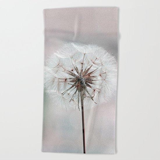 Delicate Dandelion Flower in soft light Beach Towel