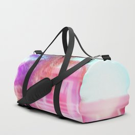 palm tree in the city with colorful bokeh light abstract Duffle Bag