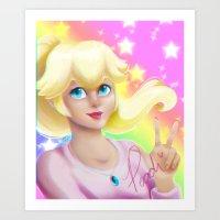 princess peach Art Prints featuring Peach Princess by The Art of Leena Cruz :)