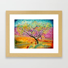 Autumn tree in bracken and heather Framed Art Print