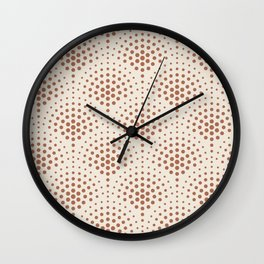 Cavern Clay SW 7701 Polka Dot Scallop Fan Pattern on Creamy Off White SW7012 Wall Clock