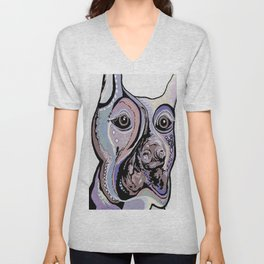 Doberman in Denim Colors Unisex V-Neck