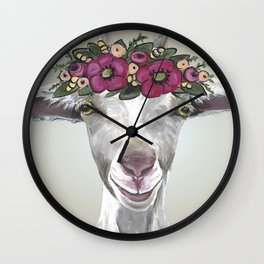 Flower Crown Goat Tan, Cute Goat Painting Wall Clock