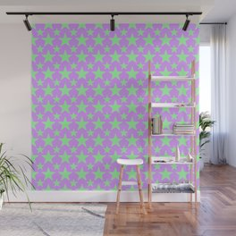 Green Star Pattern on Purple Wall Mural