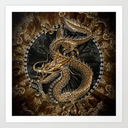 Dragon Pentagram Art Print