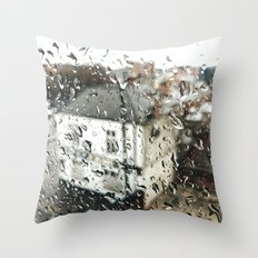 Uk bulding on a rainy day  Throw Pillow