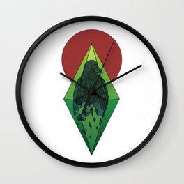 Geometric Crow in a diamond (tattoo style - color version) Wall Clock