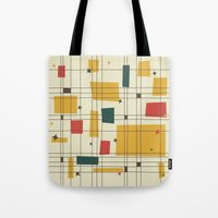 mid century modern Tote Bags featuring Mid-Century Modern by Studio Fibonacci