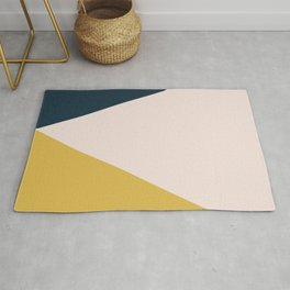 Jag. Minimalist Geometric Color Block in Navy Blue, Mustard Yellow, and Pale Blush Pink Rug