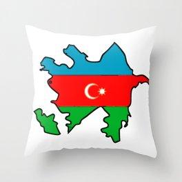 Azerbaijan Map with Azeri Azerbaijani Flag Throw Pillow