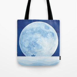 Full moon & paper boat Tote Bag