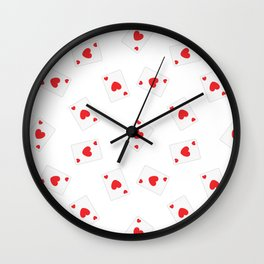 Playing cards hearts Wall Clock