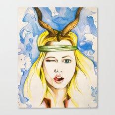 Girl with Impala Horns Canvas Print