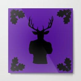 Stag Stud in Purple Metal Print