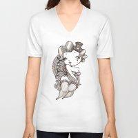 burlesque V-neck T-shirts featuring Chubby Burlesque by Sabrina Eras
