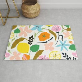 Lemon Botanicals, Chic Tropical Floral Summer Garden Colorful Illustration Lemons Tamarind Nature Rug