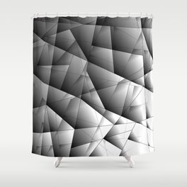 Glowing monochrome pattern of chaotic black and white fragments of glass, metal and ice floes. Shower Curtain