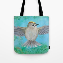 Goldcrest in top Tote Bag