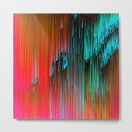 Nice Day for a Walk - Abstract Glitchy Pixel Art Metal Print