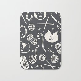Cats LOVE Yarn! in Grey Bath Mat