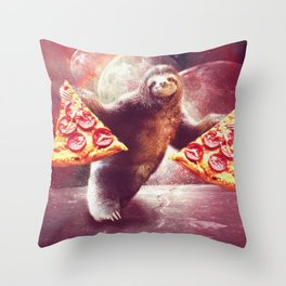 Funny Space Sloth With Pizza Throw Pillow