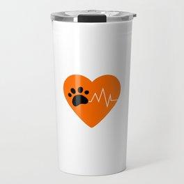 Orange Dog Paw Heartbeat Line Dog Lover Heartbeat Travel Mug