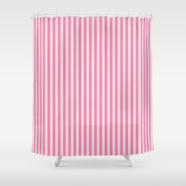 Narrow Vertical Stripes (Pink/Grey): classic stripes in pretty colors for a fresh clean look Shower Curtain