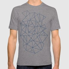 Abstraction Outline Navy Mens Fitted Tee MEDIUM Tri-Grey