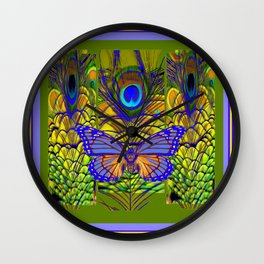 BLUE-PURPLE BUTTERFLY PEACOCK FEATHER PATTERNS Wall Clock